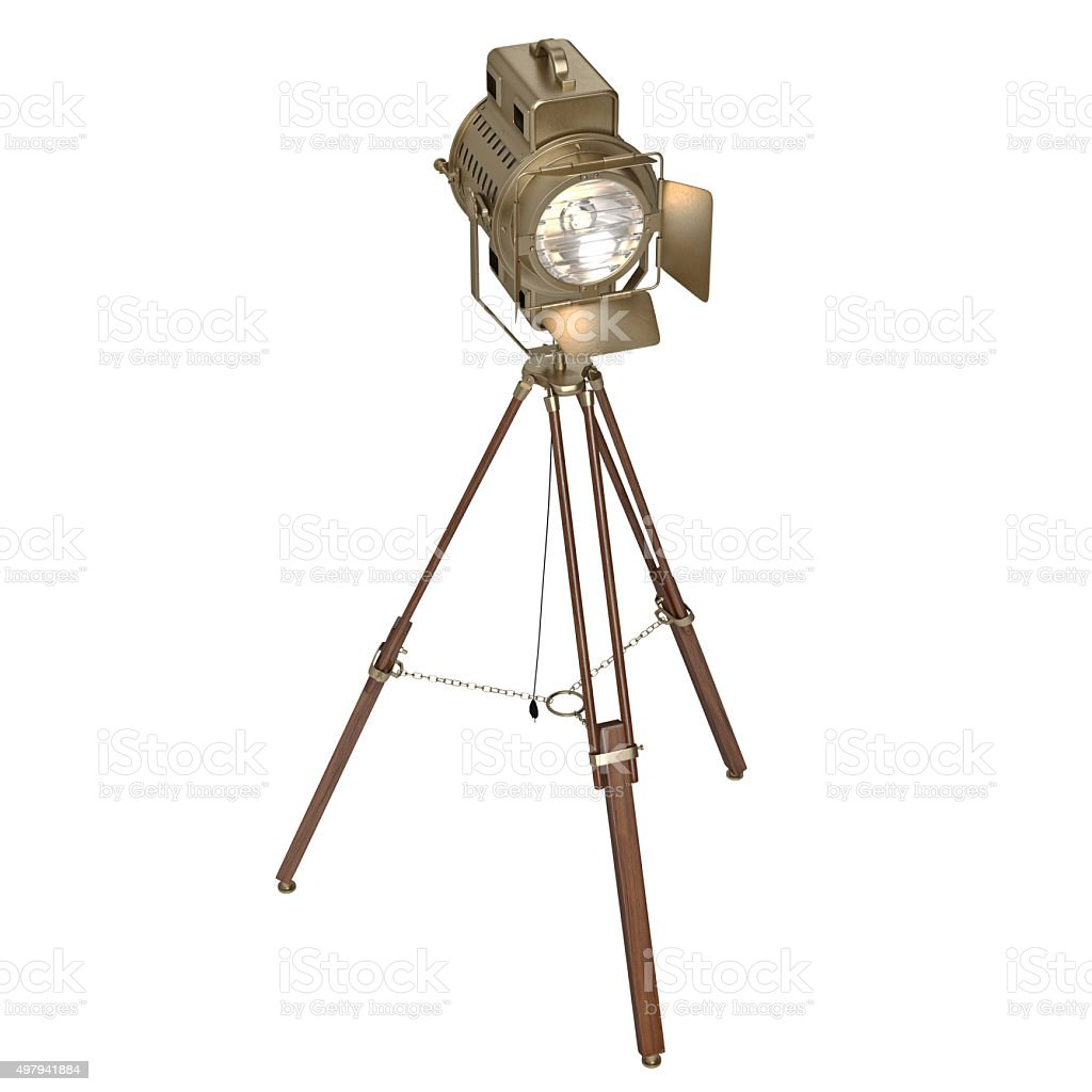 studio spotlight floor lamp wooden tripod royaltyfree stock photo