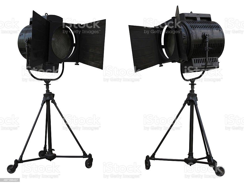 Destaques de equipamento de iluminação de estúdio isolada no branco foto de stock royalty-free