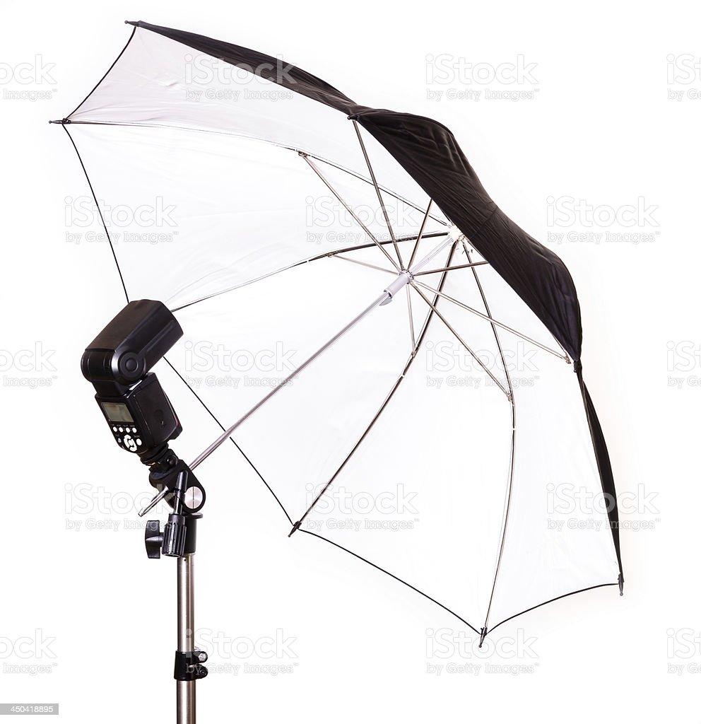 Studio strobe with umbrella isolated royalty-free stock photo