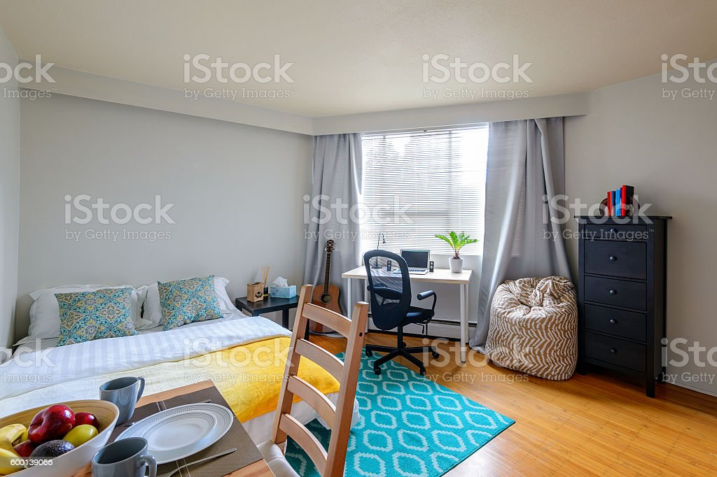 Studio student apartment with a dining room, bedroom, and office. stock photo