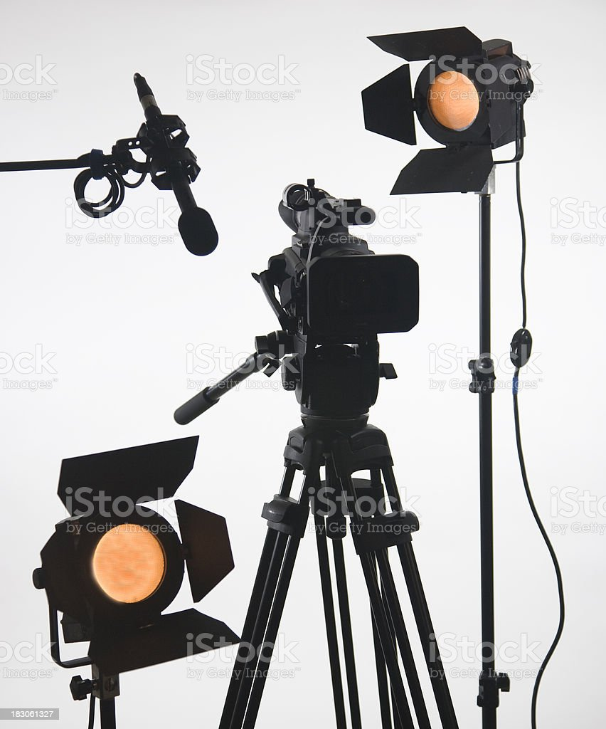 Studio video camera with two lights stock photo