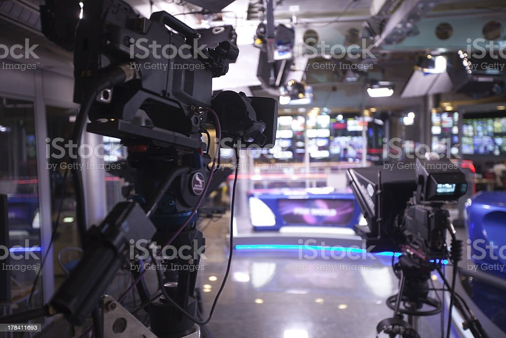 TV studio with camera and lights. royalty-free stock photo