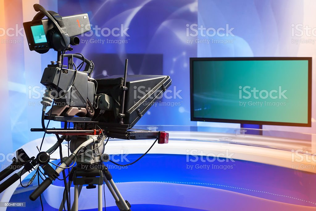 TV NEWS studio with camera and lights stock photo