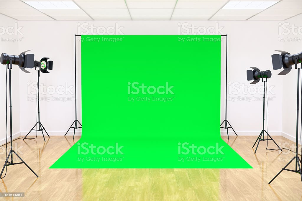 Studio with Green Screen stock photo
