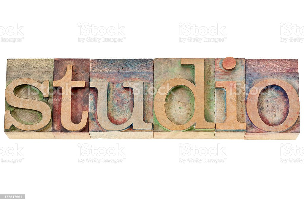 studio - word in wood type royalty-free stock photo