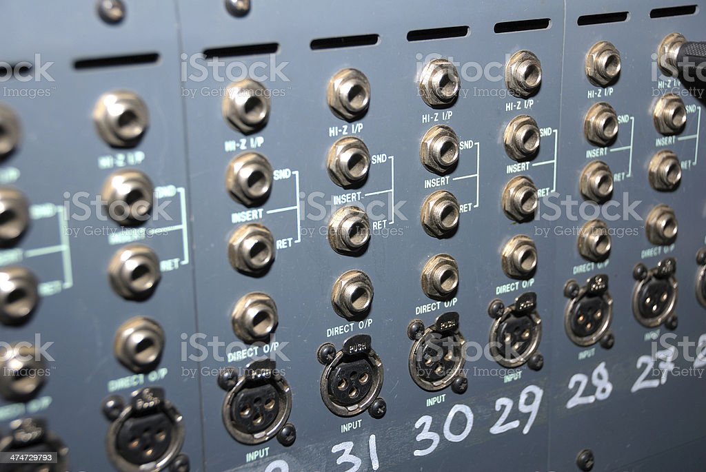 Studio xlr cables patch panel. royalty-free stock photo