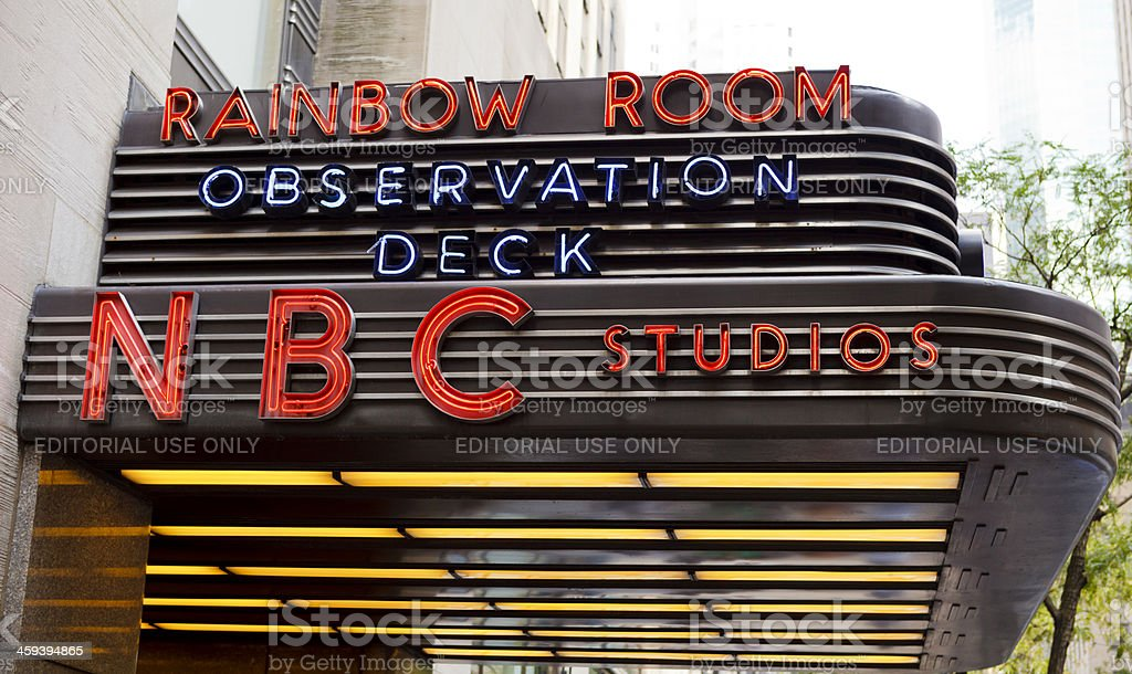NBC Studios Marquee Rockefeller Center Manhattan royalty-free stock photo