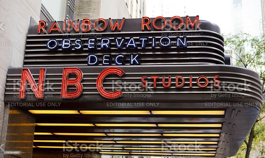 NBC Studios Marquee Rockefeller Center Manhattan stock photo
