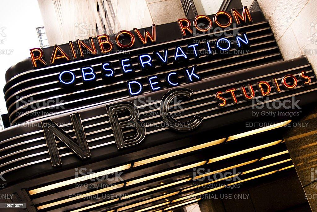 NBC Studios sign outside of 30 Rockefeller Center stock photo