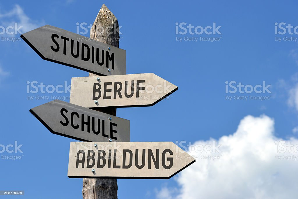Studium, Beruf, Schule Abbildung- signpost in German stock photo