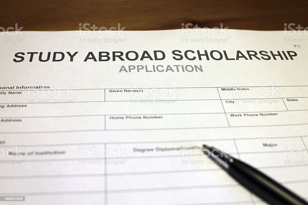 Study Abroad Scholarship Application Form Stock Photo