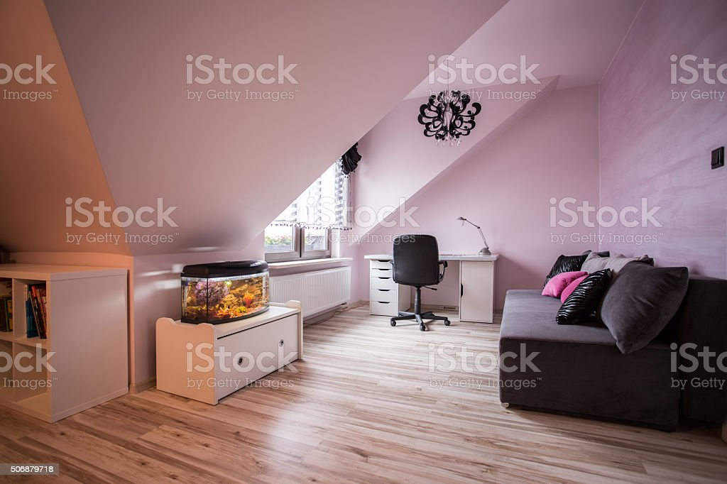 Study and living room combination stock photo