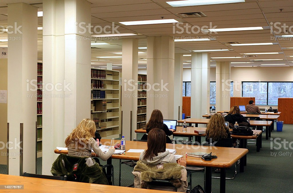 Study area in library royalty-free stock photo