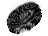 Study fingerprint through a magnifying glass, concept of criminology and