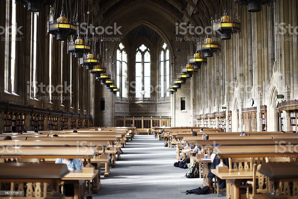 Study hall in cathedral-like library  royalty-free stock photo