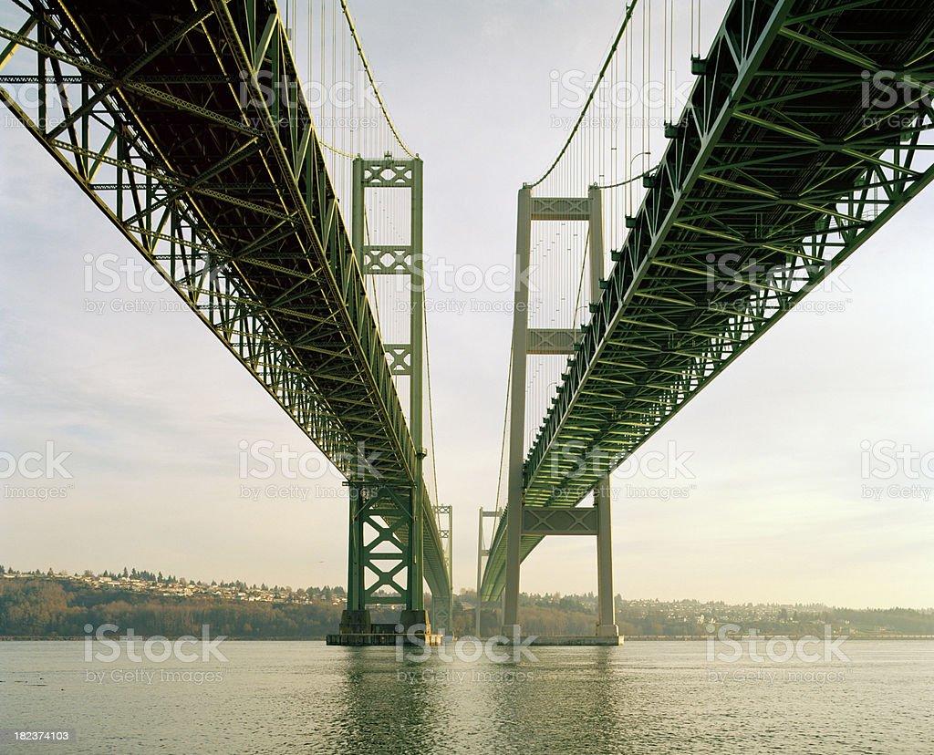 Study of Old and New Tacoma Narrows Bridges stock photo