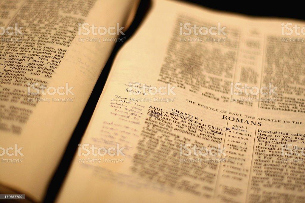 Study of Romans - Closeup stock photo