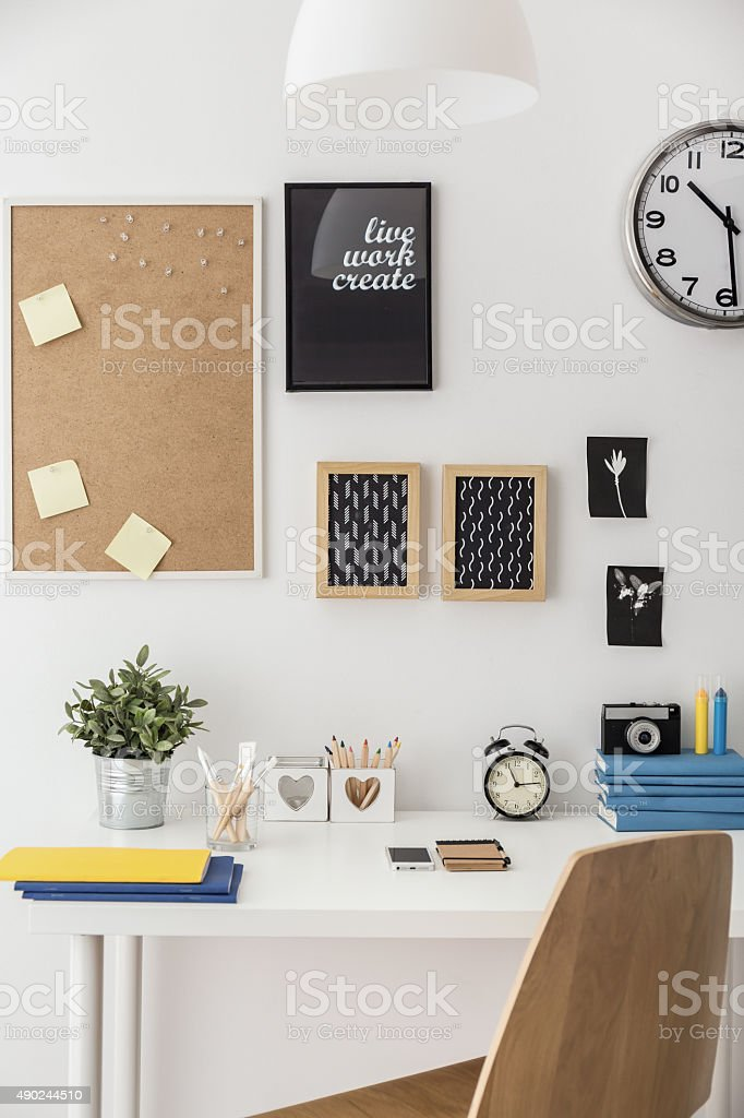 Study space in student's room stock photo