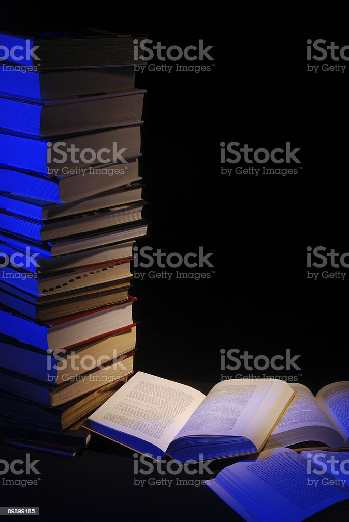 Study with Books in the Library stock photo