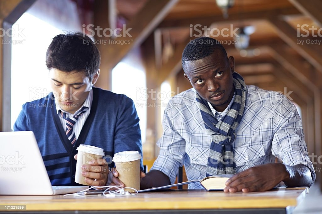 Studying at cafe royalty-free stock photo