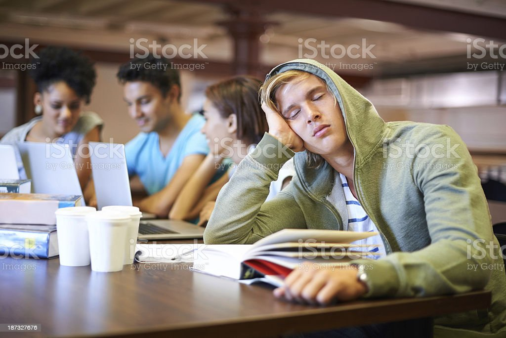 Studying bores him royalty-free stock photo