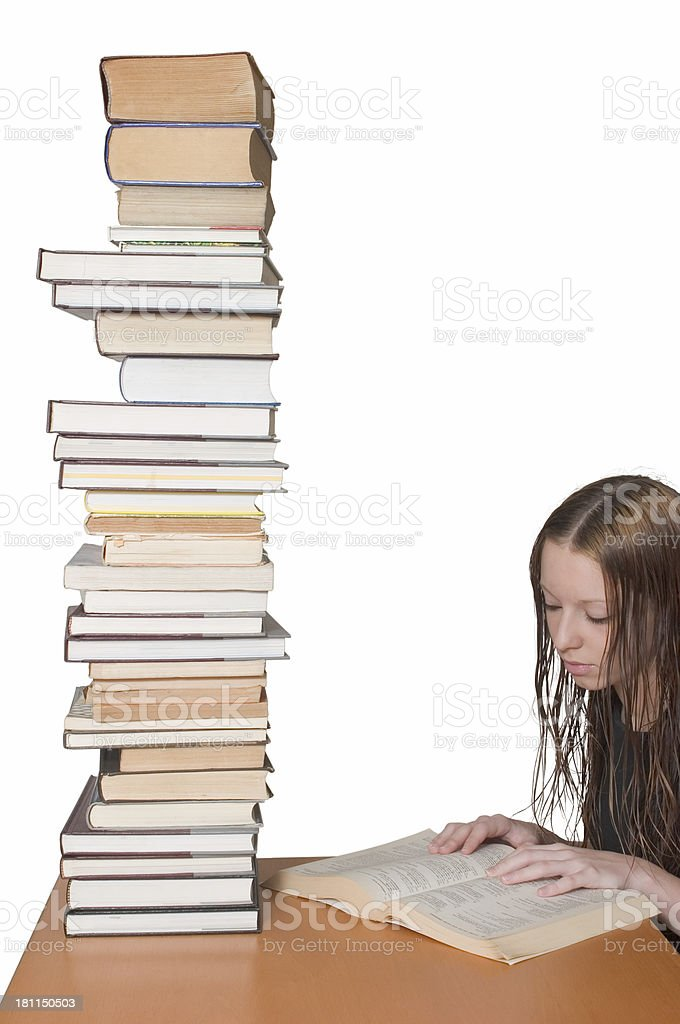 Studying for the final royalty-free stock photo