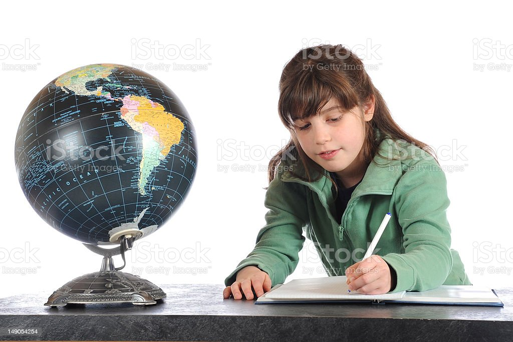 Studying Geography royalty-free stock photo