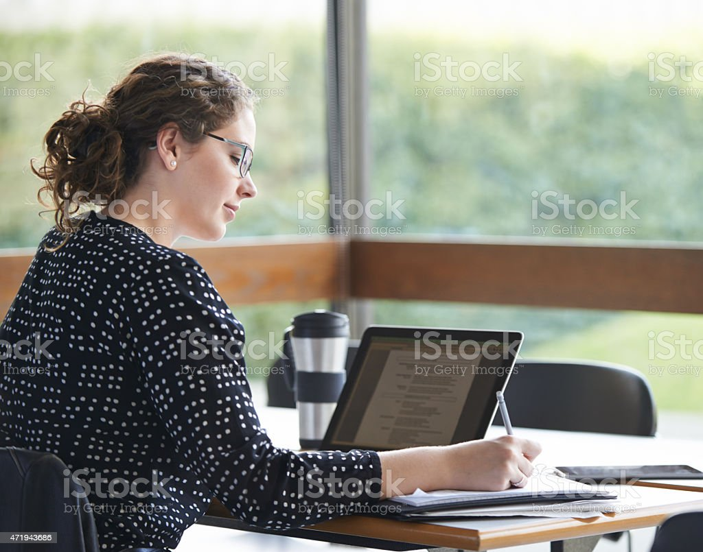 Studying in peace and quiet stock photo