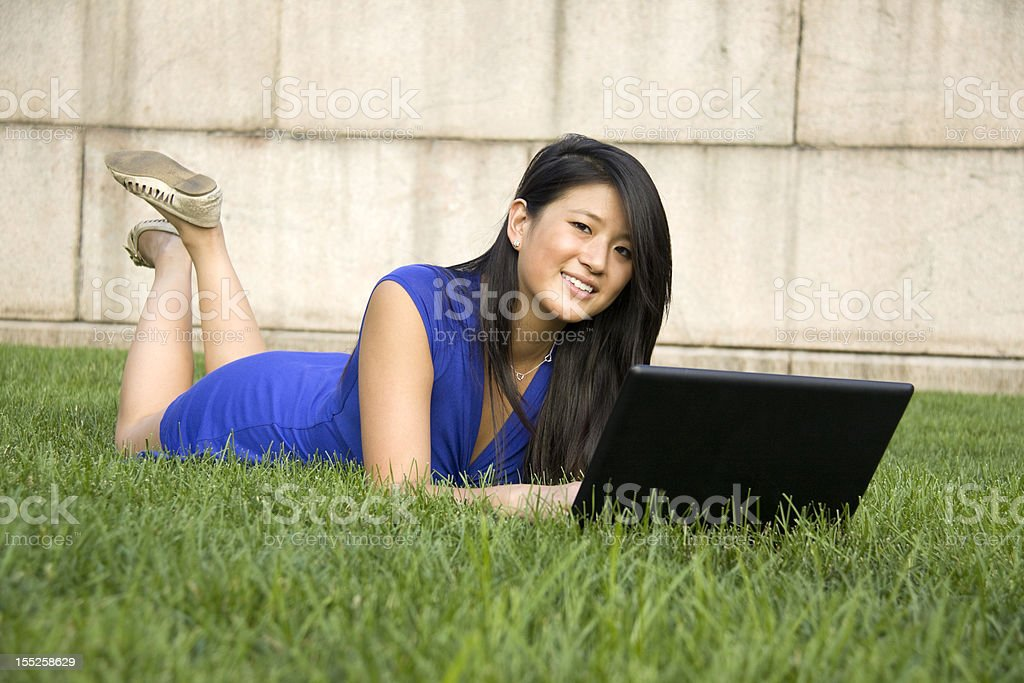 Studying in the Green Grass royalty-free stock photo