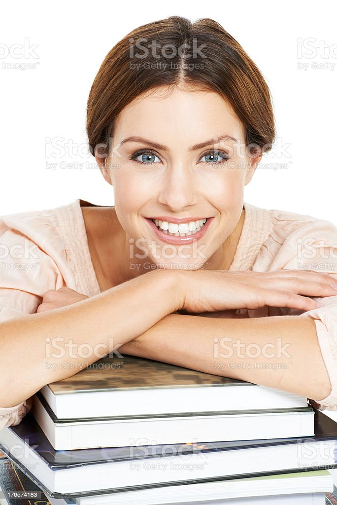 Studying is what keeps her motivated stock photo