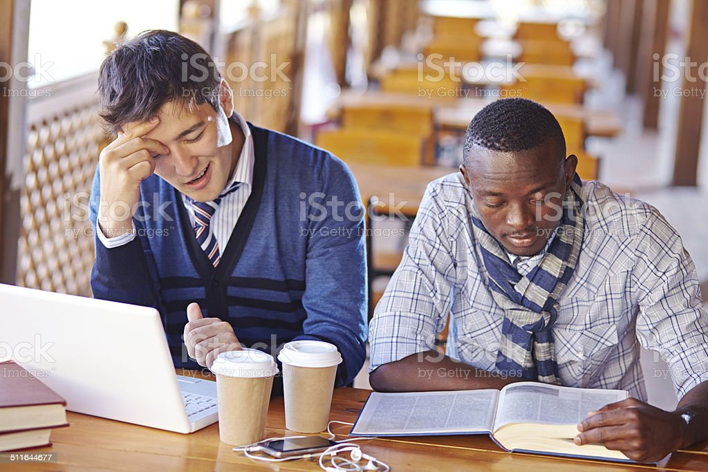 Studying non-stop stock photo