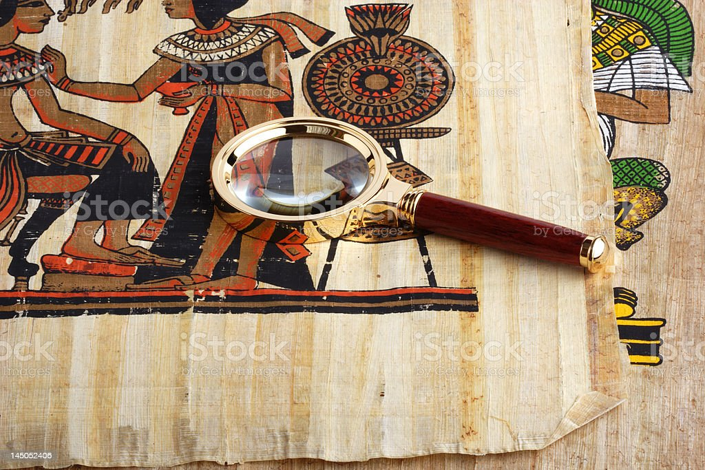 Studying of the Egyptian papyrus. Variant four. royalty-free stock photo