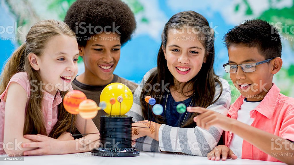 Studying our Solar System stock photo