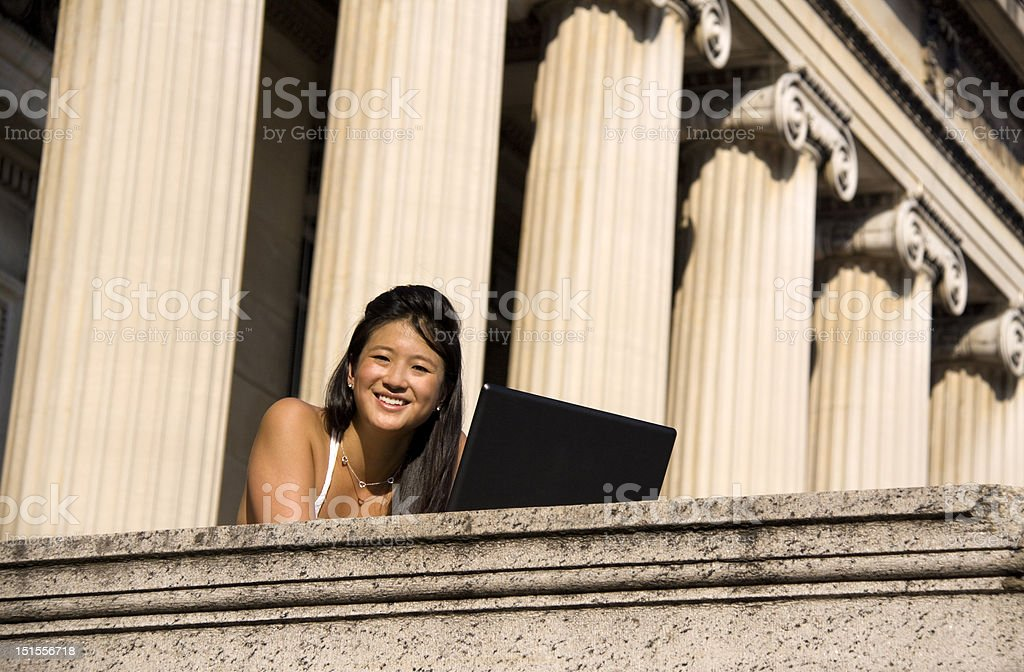 Studying Outside royalty-free stock photo