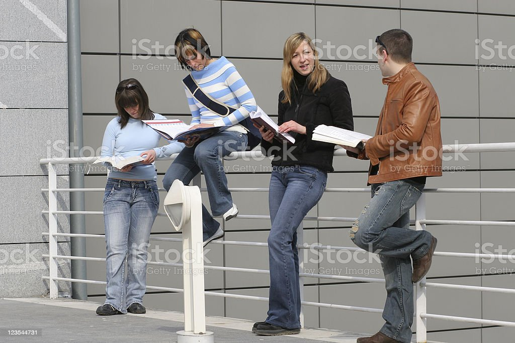 Studying outside the university royalty-free stock photo