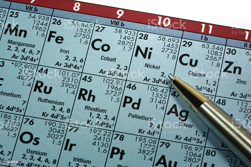 Studying the periodic table royalty-free stock photo