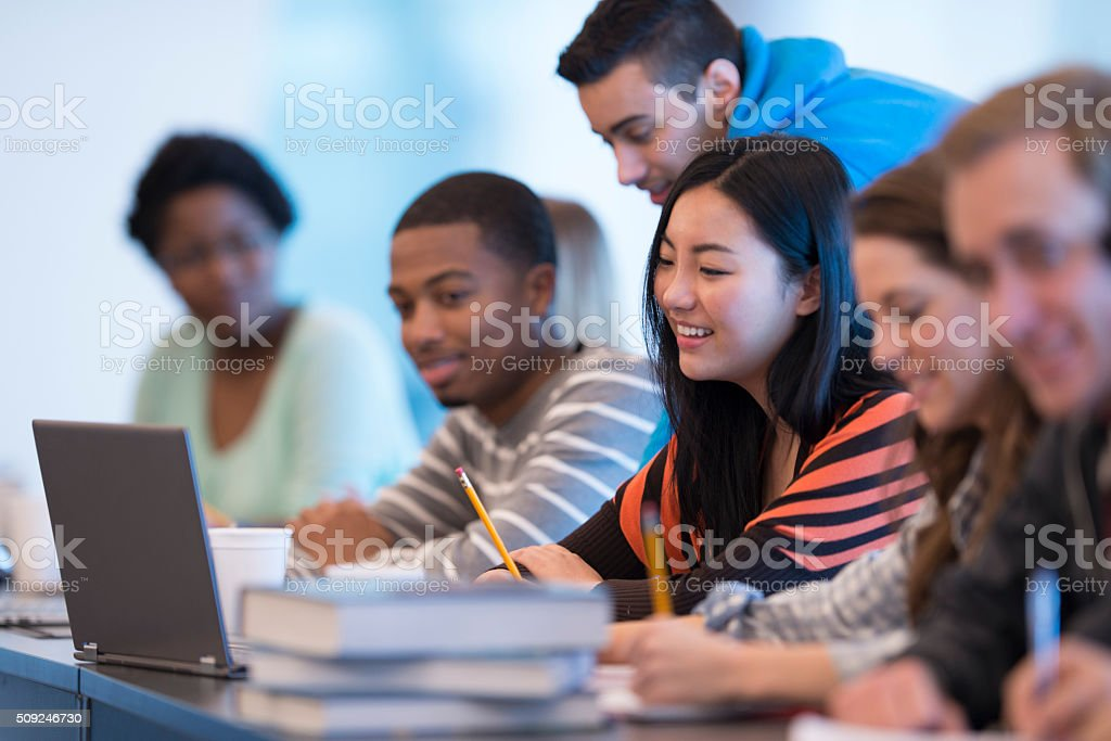 Studying Together in Class stock photo