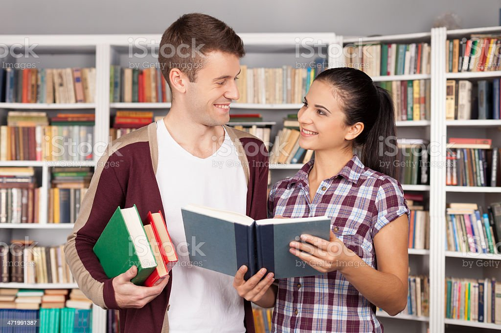 Studying together is fun. stock photo