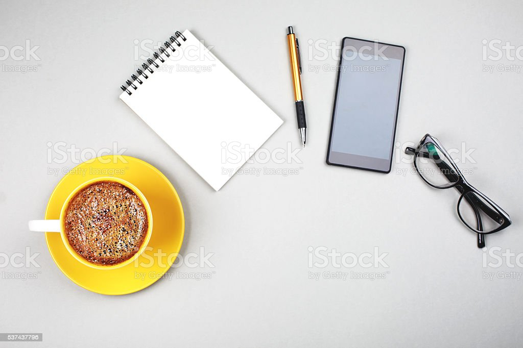 Stuff for businessmen, top view. stock photo