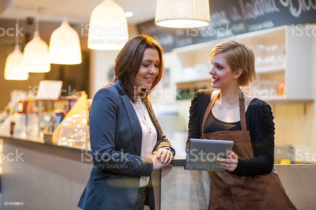 Stuff meeting in an restaurant stock photo
