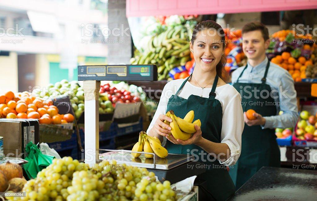 Stuff selling sweet bananas stock photo