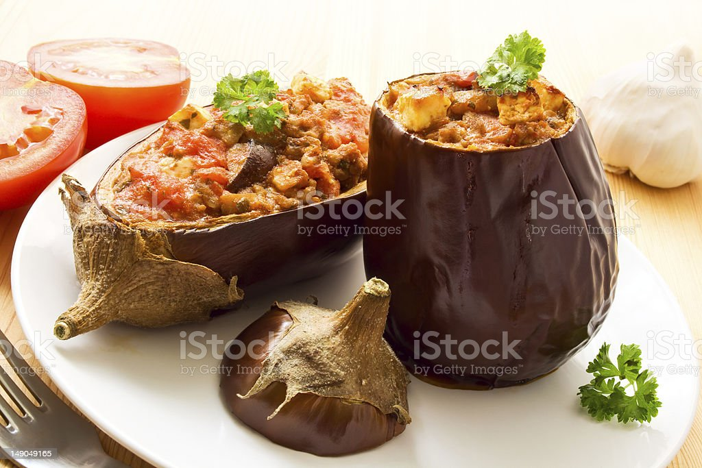 Stuffed aubergines stock photo