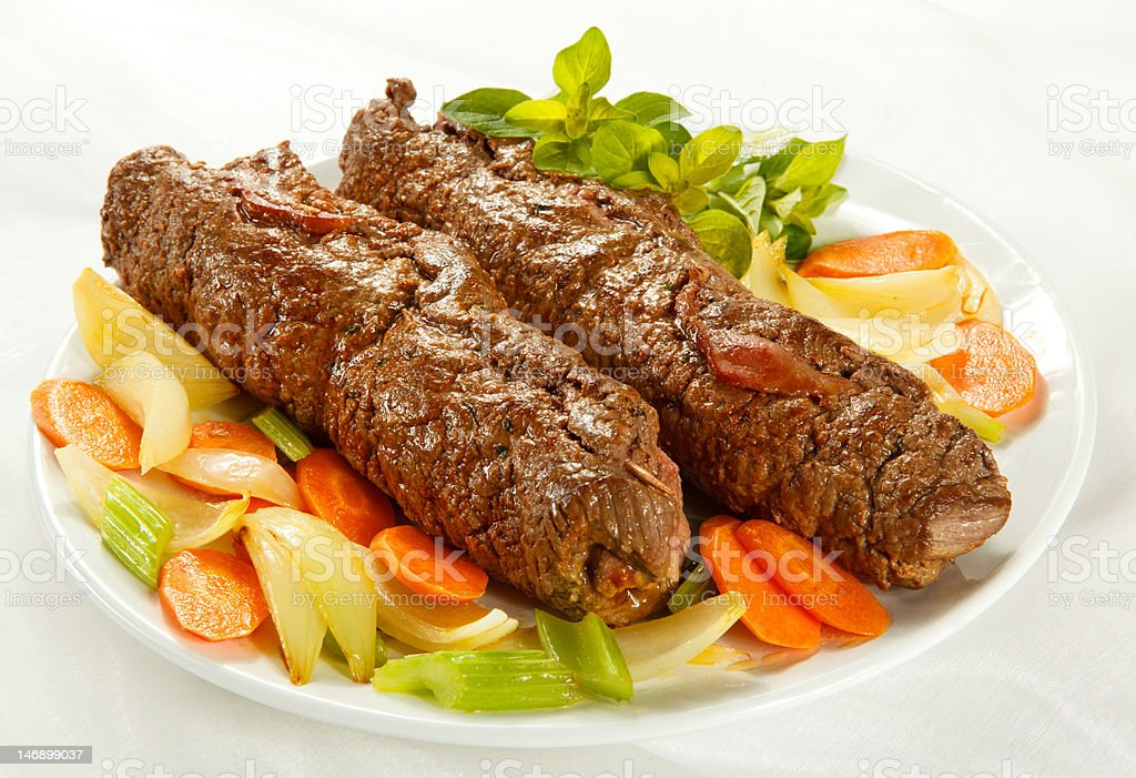 Stuffed beef chops and vegetables royalty-free stock photo