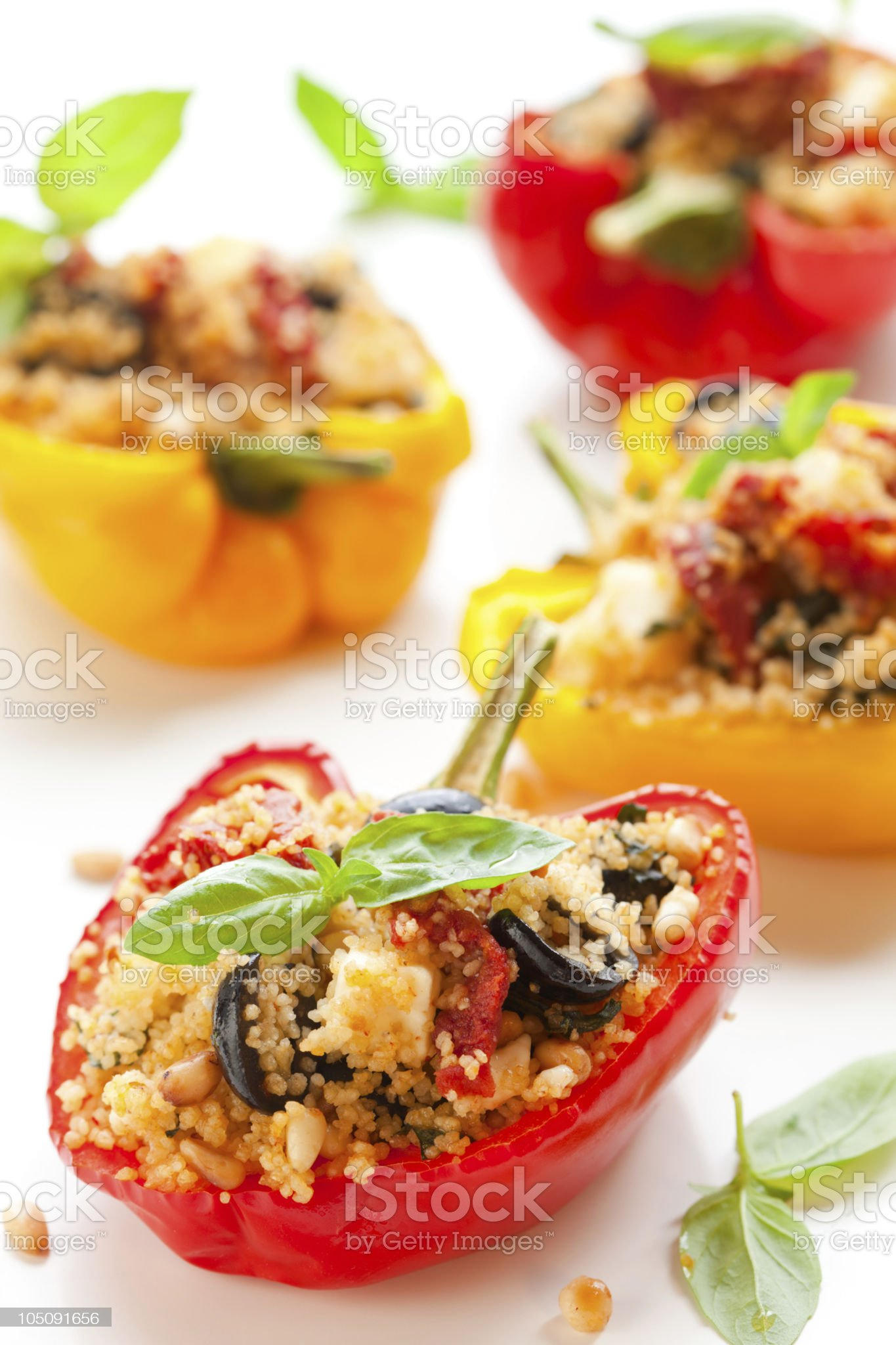 Stuffed bell peppers with garnish royalty-free stock photo