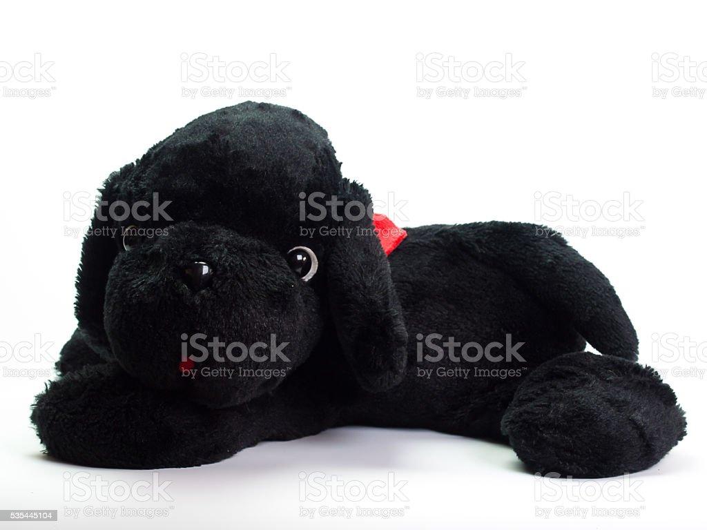 Stuffed black dog stock photo