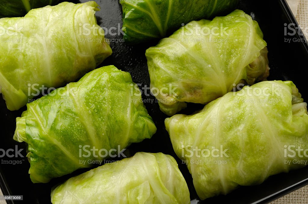 Stuffed cabbage on a black platter stock photo