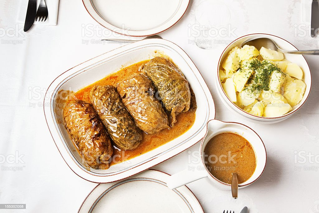 stuffed cabbage on a plate stock photo