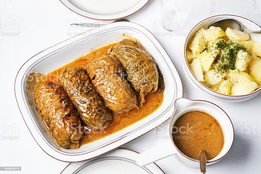 stuffed cabbage on a plate royalty-free stock photo