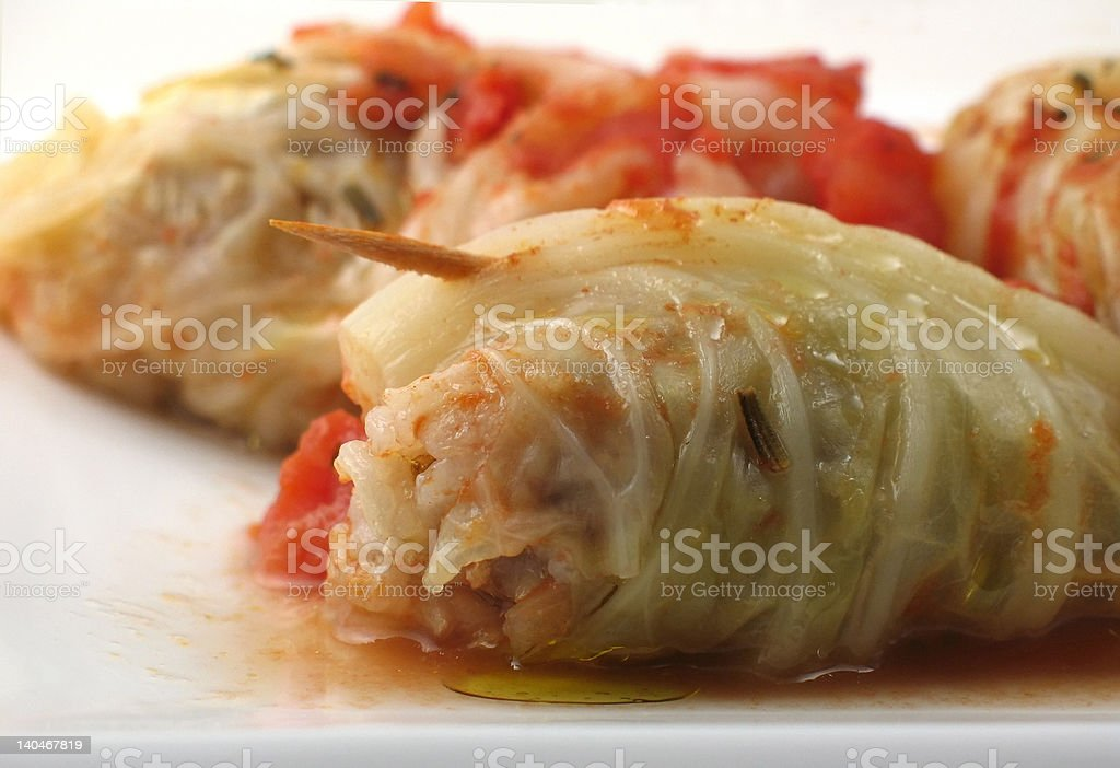 Stuffed cabbage roll with toothpick stock photo