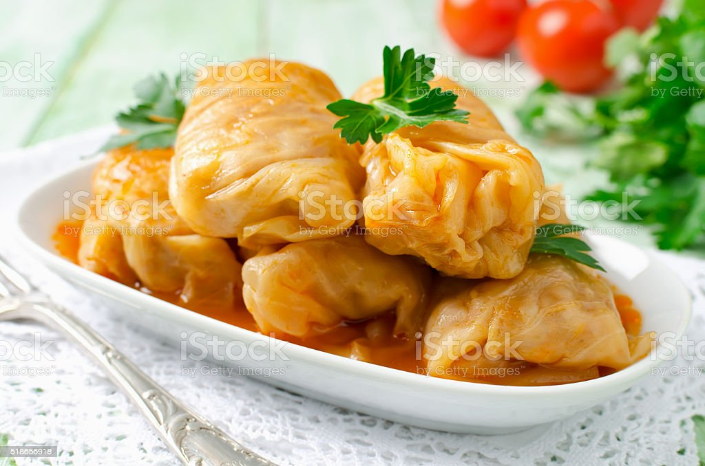 Stuffed cabbage rolls with rice and meat stock photo
